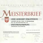 Meisterbrief Leonard Hengstberger